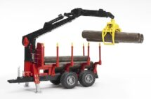 Red and black logging trailer with 4 logs and a crane.