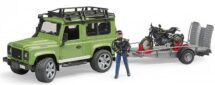 Bruder Land Rover Station Wagon with Trailer and Scrambier Ducatl with Driver