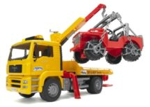 Yellow Tow Truck with Cross Country Vehicle. Bruder. TGA 41.440 Yellow