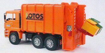 MAN Garbage truck rear loading orange LOTOS system Von Haller
