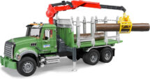 Mack timber truck with loading crane and 3 trunks