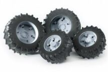 Twin tires with silver rims for tractor 03046
