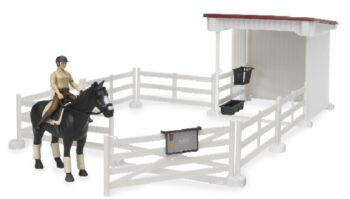 Small Horse stable with horse and woman