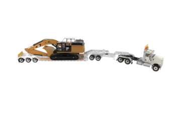 1:50 International HX520 Tandom Tractor and XL 120 HDG Trailer with CAT 349F L XE Hydraulic Excavator